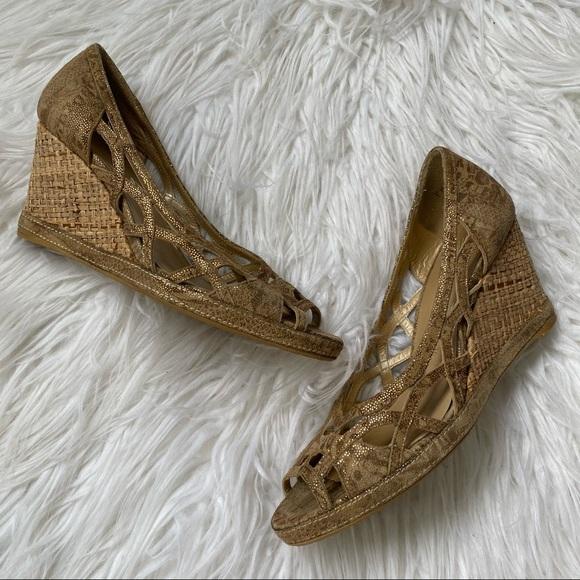 Stuart Weitzman Hurdle Peep Toe Wedge Sandal